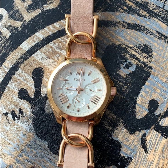 Fossil watch with leather band